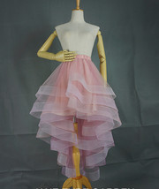 White High Low Layered Tulle Skirt High Waist Long Tiered Tulle Skirt Outfit D87 image 8