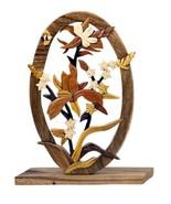 Columbine Flower Bee Intarsia Wood Table Top Home Decor Figurine Lodge New - $36.58