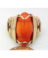 Carnelian Agate Gold Wire Wrap Ring sz 4 - $43.00