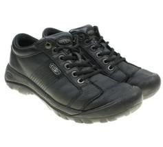 KEEN Austin Mens Black Lace-ups Leather Waterproof Hiking Walking Shoes ... - $34.64