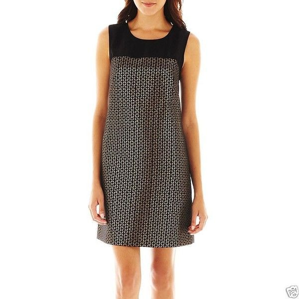Allen B. Sleeveless Black/Gold Metallic Dress New Size 14 MSRP $70.00 - $21.99