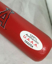 MIKE TROUT / AUTOGRAPHED LOS ANGELES ANGELS LOGO RED MINI BASEBALL BAT / COA image 4