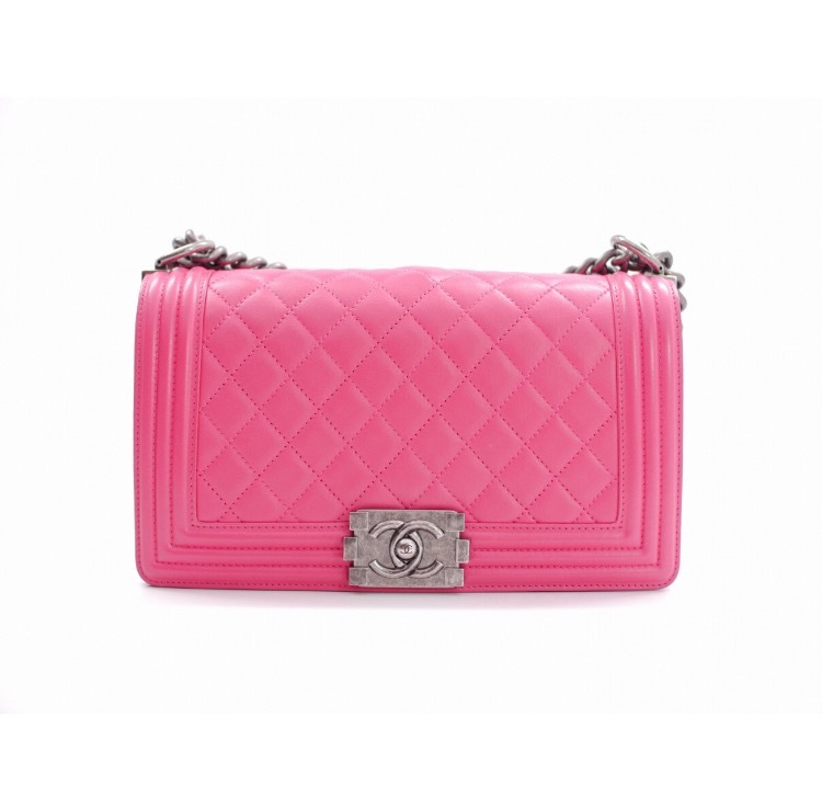 SALE*8 AUTHENTIC CHANEL LE BOY PINK CALFSKIN MEDIUM FLAP BAG RHW