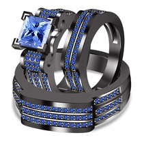 Blue Sapphire 14k Black Gold Plated 925 Silver His & Hers Trio Wedding Ring Set - $144.91