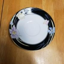 Mikasa Charisma Black Souffle Dish Black with Flowers on Rim L9050 - $2.96