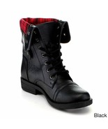 ANNA Black Lace-up Boots Style-Tammy12 - $49.99