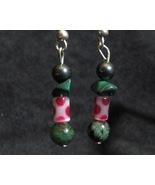 Green / Pink Polka-Dot Earrings - $12.50