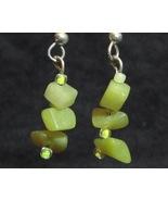 Peridot Serpentine Unique Yellow Green Earrings - $12.50