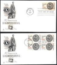Lions International first day covers single & block of 4 Jul 5 1967 Chicago, IL - $2.99