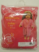 """Pink Bathrobe with Matching Striped Towel for 18"""" Dolls - $9.99"""