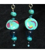 Aqua Turquoise Clay Swirl Earrings - $10.00