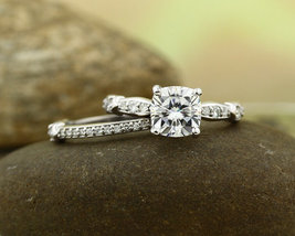 7MM Cushion Cut Forever Brilliant 14K White Gold Over Silver Engagement Ring Set - $111.99