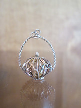 Sterling Silver Bracelet Charm  CRICKET CAGE Chinese Birdcage  Vintage 3D - $54.45