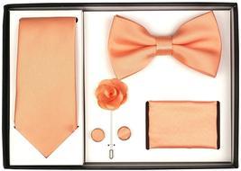 Berlioni Men's Handmade Microfiber Tie Bowtie Lapel Hanky Cufflinks Gift Box Set image 7