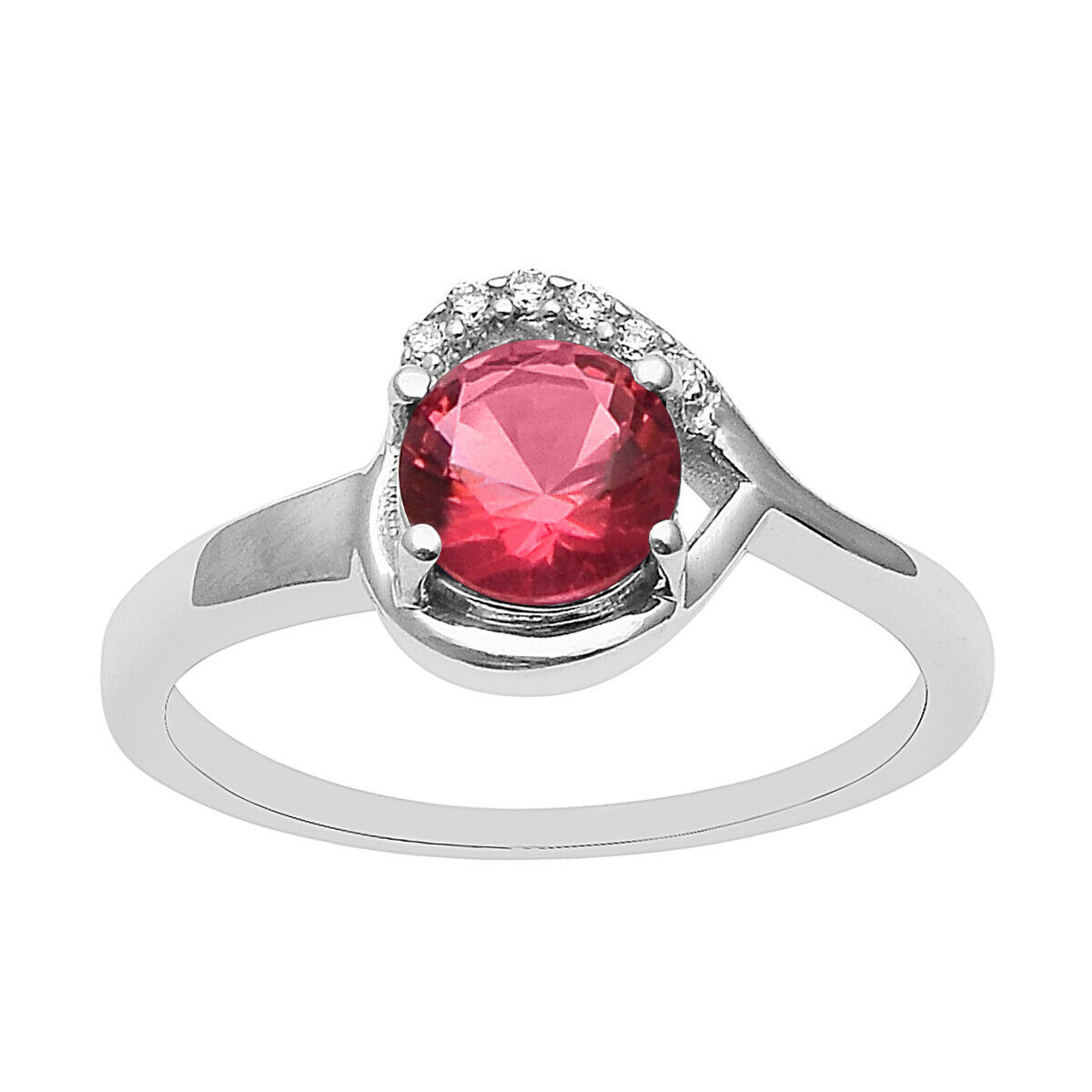 Primary image for Red Color Cubic Zirconia 925 Sterling Silver Stacking Heart Ring Women Stackable