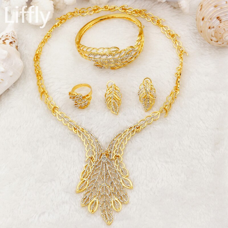 Primary image for Bridal Dubai Gold Jewelry Sets Charm Crystal Necklace Bracelet Ring Earrings Ita