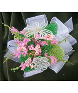 Beaded Flower Bouquet: Petit Nosegay in Tonal Shades of Pink - $55.00