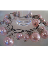 Bracelet Lg Link Chain Light Pink Sea Shell Pearls - $9.99