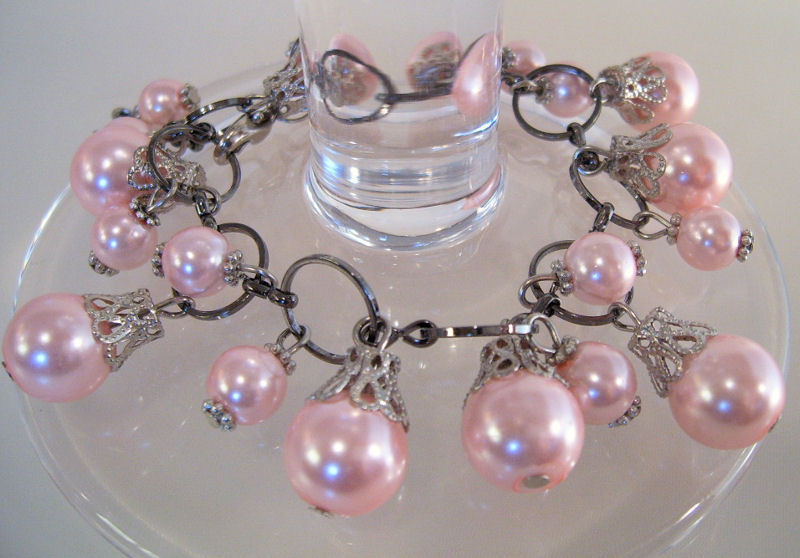 Bracelet Lg Link Chain Light Pink Sea Shell Pearls