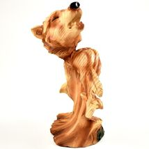 Faux Wood Western Native American Indian with Howling Wolf Bust Figurine image 4