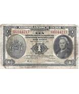 OldMoney  Netherlands Currency Indies 1 Gulden Roepiah 1943 Nederlandsch... - £7.87 GBP