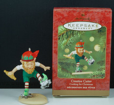 Hallmark Ornament CREATIVE CUTTER Cooking for Christmas Elf baking 2001 NIB - £16.93 GBP