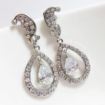 Kate Bridal Diamond Earrings - Cubic Zirconia Teardrop Jewelry - $29.00+