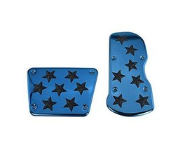2 Pcs Stainless Steel Gas Clutch Brake Pedal Cover Nonslip Pedal Cover BLUE