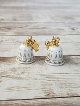 Vintage Clip On Earrings Avon White & Gold Bells with Gold Tone Clasp - $14.99
