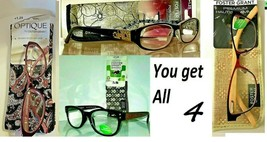 Lot of 4 Foster Grant +1.25 Womens Fashion Reading Glasses w Cases New MSRP:$100 - $17.24