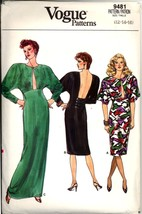 1980s Size 12 14 16 Backless Dress Vogue 9481 Pattern Evening Gown Prom - $14.99