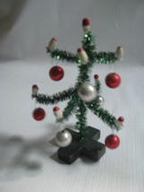 "Decorated 4-1/2"" Tinsel Tree Mercury Glass Balls, Candles Vintage Design - $8.86"