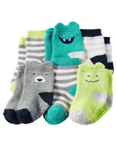 Carters 3-12 Months 6-pk Terry Socks Booties Baby Boy Non-skid Soles - $16.00