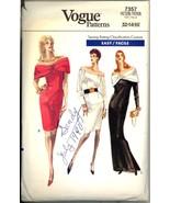 80s Size 12 14 16 Easy Off Shoulder Gown Dress Vogue 7357 Pattern Evenin... - $14.99