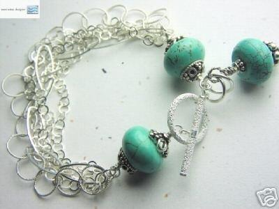 Turquoise Charm bracelet, Multi Strand Bracelet, Silver bracelet, Gem Bliss  Gem Bliss