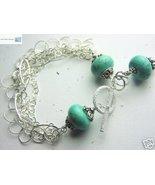 Turquoise Charm bracelet, Multi Strand Bracelet, Silver bracelet, Gem Bl... - $138.96
