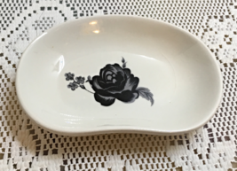 Vintage Porcelain Soap Dish Black Rose Design Ring Earring Dish - $5.00