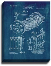 Mower Attachment Patent Print Midnight Blue on Canvas - $39.95+