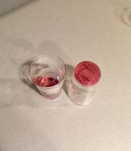 Vintage 70s set of 2 Color Base (pink) with etched flower cocktail glasses image 5