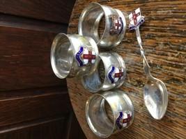 Vintage 50s Napkin Rings 4, Spoon- w Enamel Jamaica Crest -Silver Plate ... - $38.69