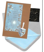 Papyrus Chanukah holiday Cards gold blue draidal 14 boxed set draydal E - $19.77