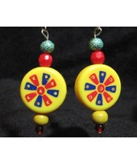 Colorful Dartboard Earrings Yellow Red Blue - $14.99