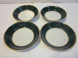 VINTAGE VOGUE FINE CHINA GREEN & GOLD TRIM SET OF 4 FRUIT BOWLS - $9.99
