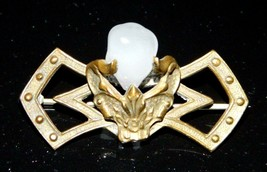 Antique Victorian Gold Filled Unique White Quartz Stone Filigree Bar Pin - $49.50
