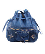 Leather Moroccan Shoulder Bag, Tote Crossbody Boho Leather Bag, Blue Color - $54.95