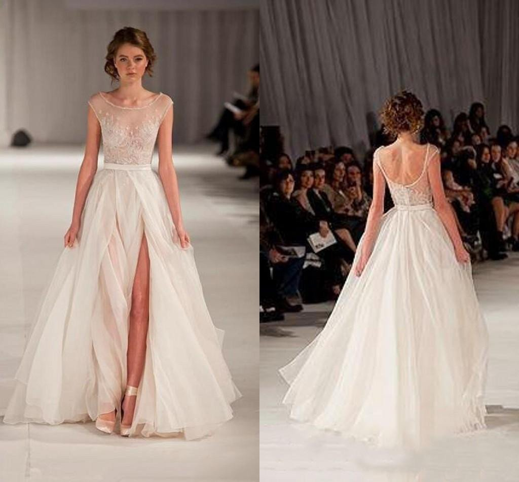 long wedding dress, fashion wedding dress, wedding dress with side slit