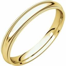 Fine 10k Yellow Gold 3 mm High Polished Comfort Fit Milgrain Wedding Rin... - $102.96+