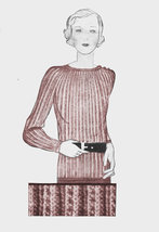 1930s Rib Stitch Sweater w/Shoulder Button Closure - Vogue 1931-Knit (PD... - $3.75