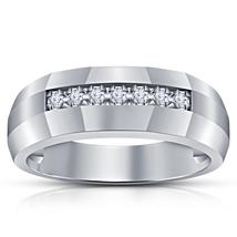 Pure 925 Silver White Gold Plated Round Cut Diamond Seven Stone Men's Ba... - $85.99
