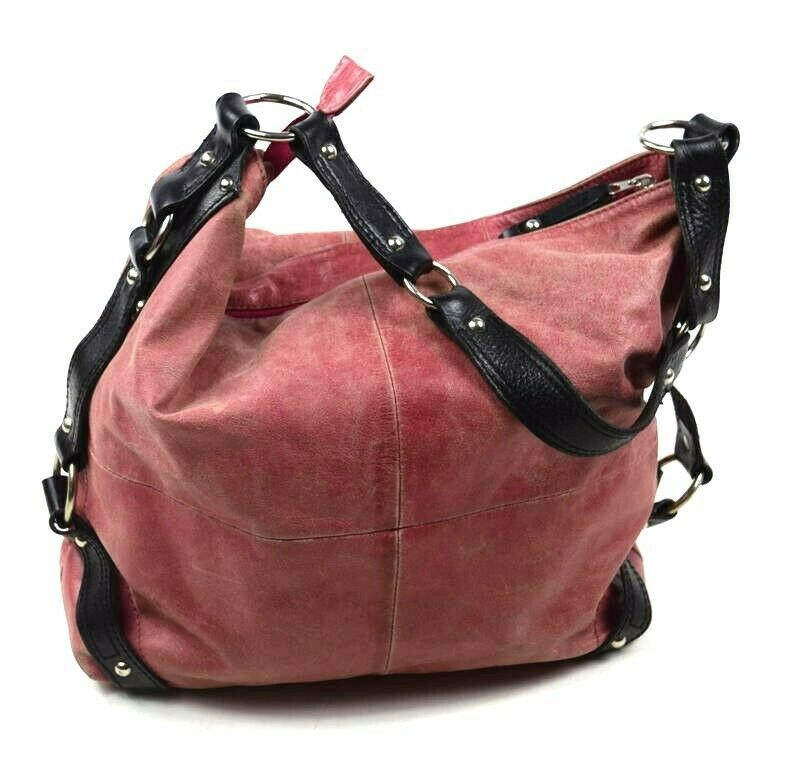 Tano Red Leather Hobo Shoulder Bag Studded Harness Strap Satchel Purse Medium
